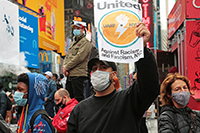 Political protests in Times Square, New York, Richard Moore