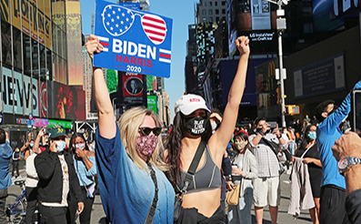 Biden Victory Rally : Times Square : New York : News Photos : Richard Moore : Photographer